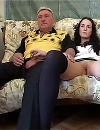 Provocative nasty threesome sex with a hot young babe and two horny old timers