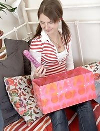 Kira received a present from her friend and didn't know what to do with it so he had to teach her what to do not only with dildo but with real co