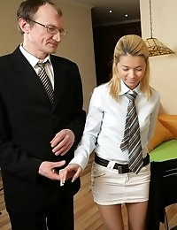 Tricky old teacher bribes hot blonde coed with promises of high grades and enjoys her dripping pussy