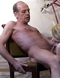 Beautiful young blonde chicks gladly sucks an old man's cock and then rides it like crazy