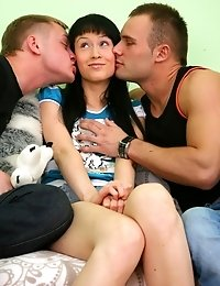 What a hot and cute brunette. Though she has never had sex she agreed to have a threesome fuck with two men.