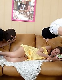 Brunette babe found two guys in masks in her flat, they came to get the most expencive things and fuck young babe.