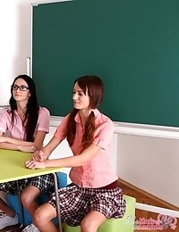 Amanda and her sexy young friend go into their teachers room after class after being called in. They are both sexy and young, and their teacher is a b