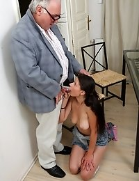 The way she puts her tricky old teacher's cock in her mouth you can tell she's never sucked one before. It isn't long before her teache