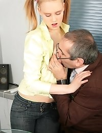 Naughty schoolgirl redeems good marks sucking her horny old teacher and getting fucked in the dirtiest ways