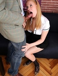 It's easy to abuse your position when you're a teacher. It's even easier when you have a horny little bitch like Oksana in need of your