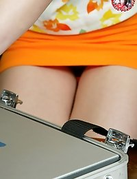 Horny teen and her laptop