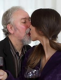 Marisa decided to hook up with this old guy because she knows old men really know how to lick her young shaven pussy! And this dude worked his tongue