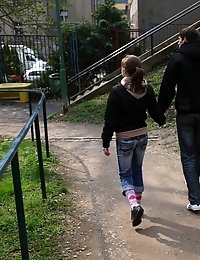 Cute brunette teen met a guy in the park, they went to her place. Young virgin couldn't withstand her lust and fucked with him.