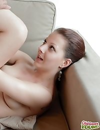 After his older friend arrives, he moves in to Ilona's body. She has her top slowly removed and she is a little shy with her sexy older lover