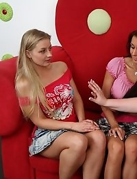 Fucking on the teacher's sofa was a little strange but whe perverted lesbian milf started petting girls their pussies turned wet.