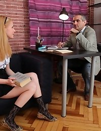 This tricky old, dirty old teacher gets his cock sucked good and hard by the lovely Oksana, one of his students. How lucky can one old teacher get for
