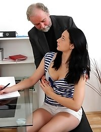Long haired brunette student isn't sure about her teacher's advances.She soon wil be however when he introduces her to his teaching aid!