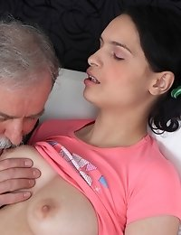 Licking young pussy is this old guys specialty. And Diana loves the sensation of his experienced fat tongue exploring her hairy snatch as she orgasms