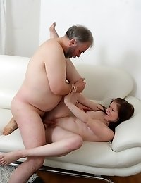 """Maria and her boyfriend aren't as close as they thought. This old guy manages to quite literally """"cum"""" between them. This is an awesome"""