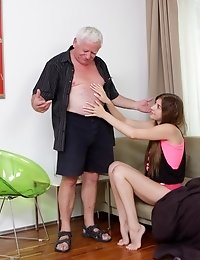 Since Rita doesn't have enough money for the pizza, so she comes up with a better way to pay the old guy. And he is more than willing to fuck her