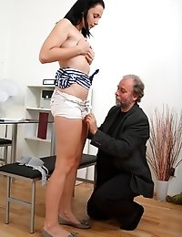 Tricky, dirty old teacher loves to watch his student's face as she fucks him hard. He knows it's wrong but simply can't help himself. C