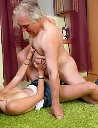 This old guy can't believe his luck when he's left alone with this little minx. She's so ready for this lesson in fucking that she can&