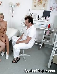 Petra is no longer a spoiled virgin, she had the doctor and her boyfriend cure her and now she gets to have jizz sprayed all over her face to celebrat