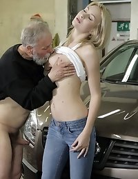 Frances wanted to show this old goes young boss that she was naughty and kinky so she told him to cum in her mouth and she swallowed his cum.
