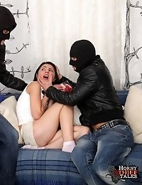 One thing Viola learned in school was how to keep a man happy by sucking his cock.This is what she aims to do to keep her robbers interested.She has b