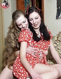Lesbians in red dresses