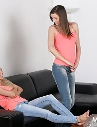 Piss loving lesbians wet their jeans as they relieve their bladders all over