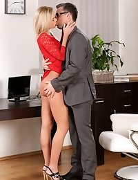 Gorgeous blonde pisses on her office coworker