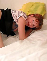 Red-haired aroused teen