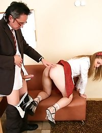 Cute babe came to the teacher's place and agreed to please him. The old man pets her pinkish pussy.
