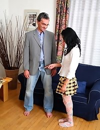 Inga was the hottest one in school. But she had to visit her teacher who used her seductive body for his filthy games, drilled her tight pussy and cov