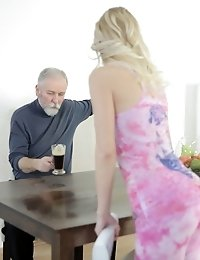 This old goes young guy loves nice asses. And before he licked Polina's fine ass and pussy, he wanted to admire it and spank it first.