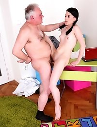 Olga wouldn't usually entertain the thought of fucking her teacher, but she soon realises that her grades depend on it; this tricky old teacher w