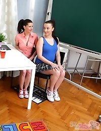 Simona and her young and hot classmate are in the classroom. They are waiting for their teacher to arrive and give them their lessons and punishment f