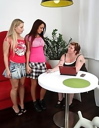 Old female teacher wanted to see young babes petting each other. Lesbians undressed and fucked shamelessly.